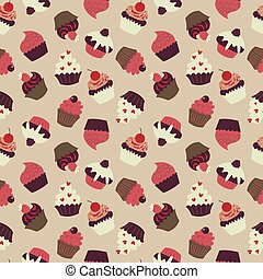 Cute seamless pattern with lots of cupcakes
