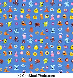 Cute seamless pattern with monsters on blue background.