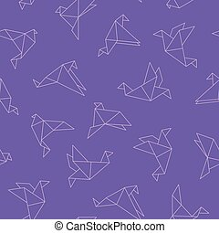 Cute seamless pattern with origami birds - colorful design. Stylish vector background