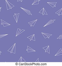 Cute seamless pattern with origami plane - colorful design. Stylish vector background