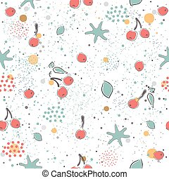 Cute Seamless Pattern with pears and dotted background. hand...