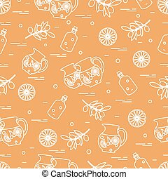 Cute seamless pattern with pitcher of sangria, orange, bottle of olive oil and branch with olives. Travel and leisure.