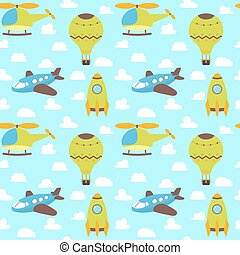 Cute seamless pattern with plane, helicopter, hot air balloon, spaceship and clouds. Funny background