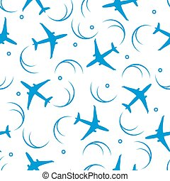 Cute seamless pattern with planes and traces of the plane.