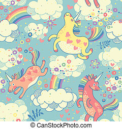Cute seamless pattern with rainbow unicorns