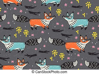 Cute seamless pattern with red and blue foxes. vector ...