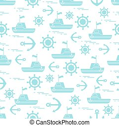 Cute seamless pattern with ships, steering wheels, anchors, flags. Marine theme.