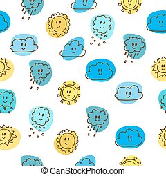 Cute seamless pattern with sun and clouds