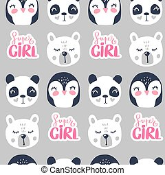 Cute seamless pattern with teddy bear, panda and penguin.