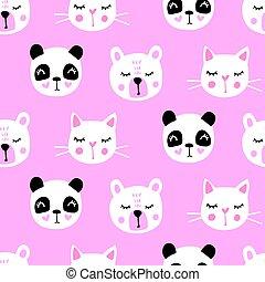 Cute seamless pattern with teddy bear, panda, cat. Vector cartoon animals background.