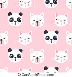 Cute seamless pattern with teddy bear, panda, cat. Vector cartoon animals background.
