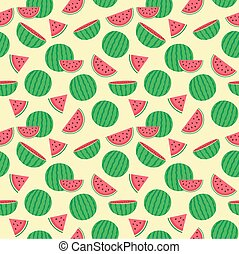 Cute seamless pattern with watermelons