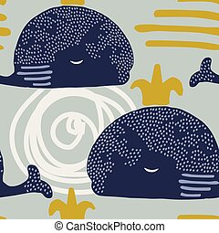 Cute seamless pattern with whales. Animal pattern in scandinavian style. For children and kids. For textile,fabric, wrapping or poster.