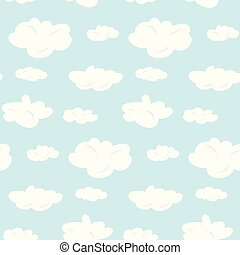 Cute seamless pattern with white clouds on blue