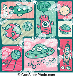 cute seamless Space pattern
