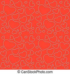 cute, seamless, textura, corações, branco vermelho