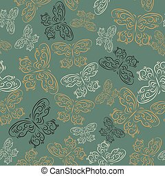 Cute seamless texture with butterflies on a green background