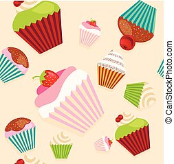 Cute seamless texture with cupcakes