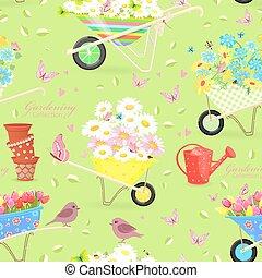 cute seamless texture with gardening wheelbarrows full of flower