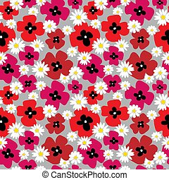 Cute seamless texture with poppies on a gray background