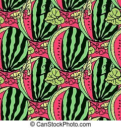 Cute seamless vector pattern with watermelons