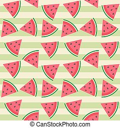 Cute seamless vector pattern with watermelon