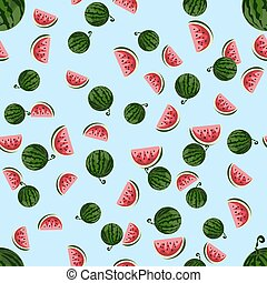 Cute seamless vector pattern with watermelons.