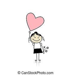 cute, segurando, coração, -, valentine saint, menina, dia