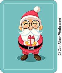 cute, segurando, natal, santa, caricatura, presente