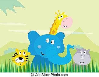cute, selvagem, animais safari