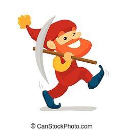 Cute senior dwarf walking with a pickaxe.
