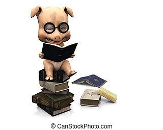 cute, sentando, books., porca, pilha, caricatura