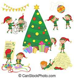 cute, set., árvore, ilustração, vetorial, pequeno, decorando, natal, duendes