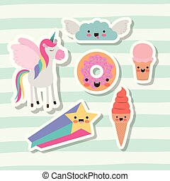 cute set fantasy elements unicorn cloud with wings star and donut and ice cream cone with lines colorful background