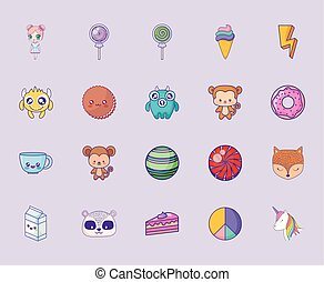 cute set icons style kawaii