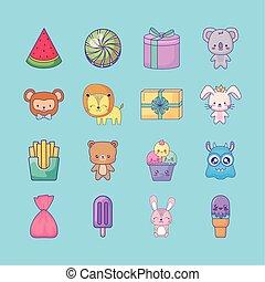 cute set icons style kawaii