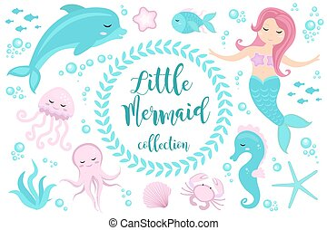 Cute set Little mermaid and underwater world. Fairytale...