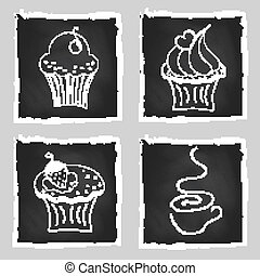 Cute set of bright cupcakes and cup of coffee on chalkboard background
