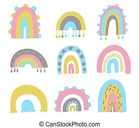Cute set of hand drawn rainbows. Baby trendy vector.