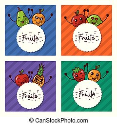 cute set of kawaii fruits cartoon labels