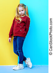 cute seven year girl - Kid's fashion. Full length portrait ...