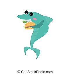 Cute shark cartoon character eating burger, funny blue fish vector Illustration