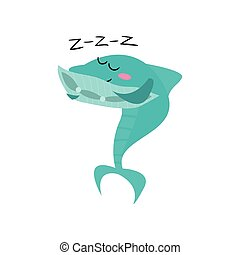 Cute shark cartoon character sleeping, funny blue fish vector Illustration
