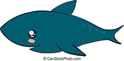 Cute shark, illustration, vector on white background.