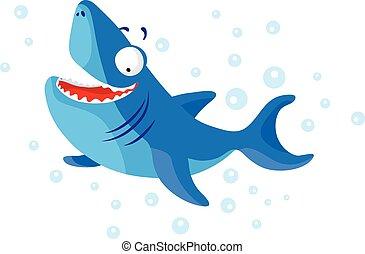 Cute shark isolated. T-Shirt design for children. - Cute...