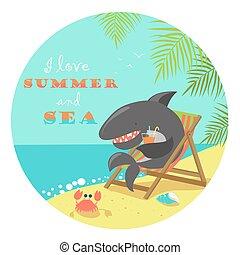 Cute shark sunbathing on deck chair. Vector illustartion