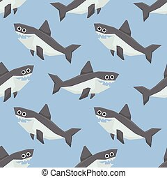 Cute Sharks Seamless Pattern