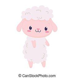 cute sheep animal cartoon isolated icon