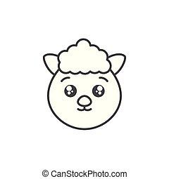 cute sheep animal farm line style icon