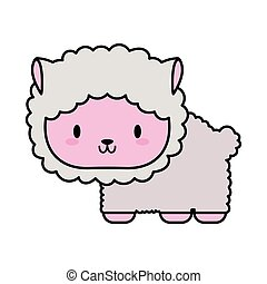 cute sheep baby kawaii, line and fill style icon